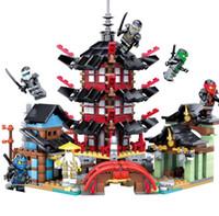 templo libre al por mayor-Ninja Temple 737 + pcs DIY Building Block Sets juguetes educativos para niños Compatible legoing ninjagoes envío gratis