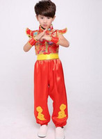 Wholesale years boys red white clothes online - the year new style children Cosplay Boys Wushu Costume Festive Drum clothing long Short style