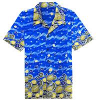 patrones de batik africano al por mayor-Camisas de estilo africano Batik patrón hombres Dashiki olas azules tradicionales impreso algodón manga corta para hombre