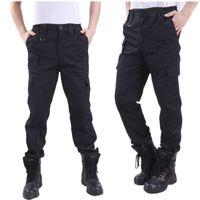swat army pants black al por mayor-Estilo Cargo Pant Men Security Work Pantalones Thin Black Pantalones tácticos SWAT Ropa Army Monos Casual Trouser
