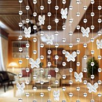 свадебные бусы занавес оптовых-Drop shipping 1 meters glass crystal  curtain Butterfly Water droplets Shaped Wedding Curtain Bead Decor Pendant
