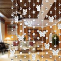 damla şekilli boncuklar toptan satış-Drop shipping 1 metre cam kristal boncuk perde Kelebek Su damlacıkları Şekilli Düğün Perde Boncuk Dekor Kolye