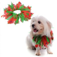 Wholesale multi coloured hair online - Neck Strap Dog Clothes Pet Merry Christmas Decoration Collar Halloween Coloured Ribbon Hats Cats Neckes Ring Scarf mq gg