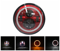Wholesale halo led projector - 7 In Daymaker Halo LED Projector Headlight Red, G r e enClick Harley Sportster Accessories With Halo King Motorcycle Replacement Light