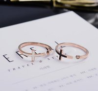 Wholesale Open Cross Ring - Open ring female style fashion cross ring character small finger end ring of rose gold accessories.