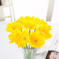 Wholesale Artificial Flowers Poppies - Artificial Real Touch PU Decorative Fake Artificial Poppy Flowers For Wedding Bridal Bouquet Home Party Decor