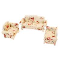 conjuntos de mobiliário para sala de estar venda por atacado-1:12 modelo de móveis de casa de bonecas sala de estar sofá set -3 pcs sofá rosa