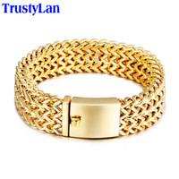 erkekler için bilezikler altın takılar toptan satış-Trustylan yeni bilezik erkekler takı takı hediyeler onu mens için mens bilezik bilezik altın renk paslanmaz çelik kol bandı bileklik