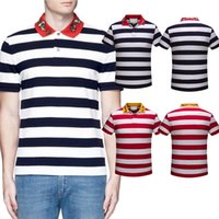 Wholesale Polo T Shirt Men V Neck - Cotton designer Polo T-shirts Embroidered Collar Snake Bee Italy Brand Stripes t shirts Mens Slim tee shirts Lapel Short Sleeve poloshirts