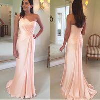 Wholesale red flowing evening dress for sale - Elegant Pink Evening Dresses Sheath One Shoulder Flow Pleats Chiffon Long Bridesmaids Gowns Women Formal Occasion Wears BM0177