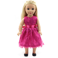 16 ropa de niña al por mayor-Accesorios para muñecas American Girl Ropa para muñecas Vestido de princesa de encaje rojo negro para muñecas de 16-18 pulgadas Regalo X-51
