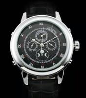 мужские спортивные часы оптовых-Известный новый роскошный мужские автоматические механические швейцарские серебряные мужские часы Sky Moon фазы часы коричневый натуральная кожа Мужские спортивные часы me