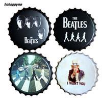 eski metal dekor toptan satış-Beatles Rölyef Şişe Kapağı Yuvarlak Metal Sanat Poster Vintage Teneke Burcu Bar Pub Ev Duvar Dekor 40 CM
