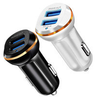 Wholesale usb power port for car online - Car charger Dual usb ports A high quality quick charging Usb power adapter chargers for iphone x Samsung android phone