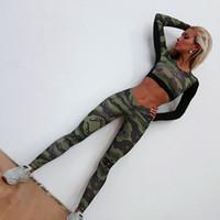 yoga gesetzt fitness kleidung großhandel-Yoga Set Frau Sportbekleidung Fitness Sport Anzug Trainingsanzug Frauen Camouflage Yoga Leggings Trainingskleidung Gymnastikkleidung