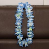 цветок день рождения благосклонность оптовых-100 см цветок гавайский пляж ну вечеринку хула гирлянда лейс ожерелье лэй день рождения праздничные атрибуты свадебные сувениры 8 цвет