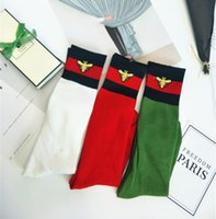Wholesale Knee High Socks Hot - Fashion Socks Red black striped Stockings bees embroidery tide brand socks knee high stocking can choose color 2018 hot