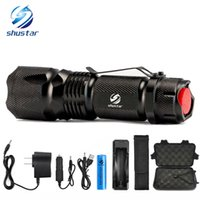 Wholesale used dive torch resale online - Shustar Tactical Led flashlight Ultra Bright Lumens XML T6 L2 Zoomable led torch light use Rechargeable battery charger