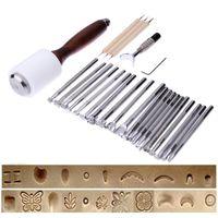 ingrosso strumenti di timbratura a mano-25PCS / Set Timbro per intaglio in pelle in acciaio inossidabile Kit per martello beveler in pelle fai da te
