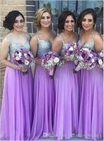 Wholesale White Tull Dress - Cheap A Line Long Bridesmaid Dress 2017 New Tull V Neck Sleeveless Sequins Wedding Gown Bridesmaids Dresses Custom Made Plus Size