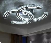 luz ámbar del techo al por mayor-Estilo moderno de la moda Luz de techo LED de acero inoxidable Moderno Breve sala de estar Lámparas de techo LED Claro / Ámbar Cristal Iluminación LLFA