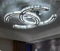 ingrosso moderna lampada da soffitto bianca-Moda moderna in acciaio inox LED Plafoniera Moda breve soggiorno lampadari a soffitto LED Clear / Ambra Crystal Lighting LLFA