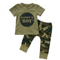 jungs camo kleidung großhandel-Neugeborenen Kleinkind Jungen Mädchen Camo T-shirt Tops Hosen Outfits Set Kleidung 0-24 Mt Baumwolle Casual Kurzarm Kinder Sets