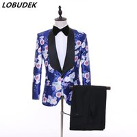 брючные выпускные платья оптовых-(Jacket+Pants) Formal Men's Suits Rose Printing Blazers Two Piece Set Groom Wedding Dress Prom Party Business Casual Male Suit