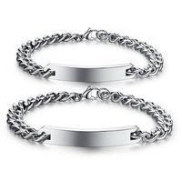 design paar armbänder großhandel-Klassisches Design Armband Jahrestag Geschenk Edelstahl Schmuck Paar Armbänder Armreif für Liebhaber Männer Frauen