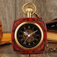 relogios mecânicos unisex quadrados venda por atacado-Requintado Relógio De Bolso De Madeira Unisex Mão Do Vintage Relógios Mecânicos de Vento Quadrado Pingente De Madeira PocketWatch reloj de bolsillo