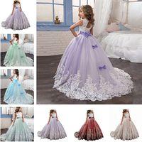 lilac graduation dress for girls großhandel-Blumen-Mädchen-Kleider Prinzessin-Flieder-kleine Braut-langes Festzug-Kleid für Mädchen-Glitz Puffy Tulle-Abschlussball-Kleid-Kinder-Abschluss-Kleid-Vestid