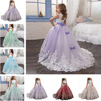 ingrosso abbigliamento lungo vestito da bambini-Flower Girls Dresses Princess Lilac Little Bride Long Pageant Dress per Girls Glitz Puffy Tulle Prom Dress Bambini Abito laurea Vestid