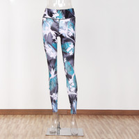 Wholesale green yoga pants for sale - Autumn New Style Flower Printed Yoga Pants Ladies Sports And Leisuree Lastic Contrast Color Nine Pants