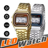 Wholesale watchbands for sale resale online - Hot Sale Multifunction WR F91W Fashion Watches metal watchband LED Change Watch Sport A159W Watch For Student Kids