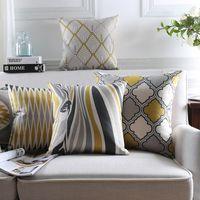 almohadas grises amarillas al por mayor-Venta al por mayor Funda de Almohada de Lino Funda de Cojín Amarillo Gris Cebra Floral Funda de Almohada Decorativa Casera 45X 45Cm / 30X 50Cm