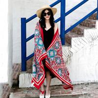 ingrosso asciugamani sottili di cotone-Sciarpa di autunno Thin Style Tassel Retro Totem culturale Cotone e lino Protezione solare Scialle di spiaggia Asciugamano da donna