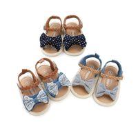 детская обувь для девочек сандалии оптовых-3 цвета новые поступления мягкое дно противоскользящие детские сандалии дети девушка кружева деним лоскутное лук детские первые ходунки обувь