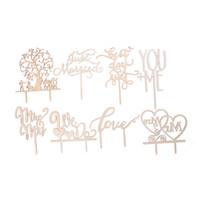 adorno de madera al por mayor-2018 Selecciones de la torta de grano de madera Cumpleaños / Suministros de decoración de la boda Festival Fiesta MR MRS Topper Selecciones boda de madera decorativo