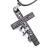 Wholesale Cross Necklace Antique - 2018 New Retro Men Cross Leather Cord Titanium Steel Chain Necklace Fashion Antique Design Mens Jewelry Wholesale