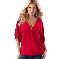 yeni şifon bluz stili toptan satış-5XL Yeni Stil Fermuar Derin V Boyun Şifon Bluz Moda bayanlar Casual Tops Gömlek Kadın Yaz Gevşek Üst Yarım Kollu Kazak Sıcak