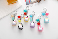 Wholesale Phone Charms Characters - Penguin Keychains Cute For Girls Trinkets Pendant Jewelry Key Chains Women Lovely Bag Phone Charm Key Ring Holder 12pcs Set D539L
