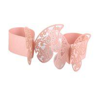 ingrosso rose di tovaglia-50pcs 3d farfalla tovagliolo di carta anelli per la decorazione di cerimonia nuziale per feste cena banchetto decorazione della tavola accessori