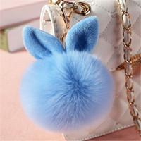 charme d'oreille de lapin achat en gros de-17 couleurs fausse fourrure de renard pompon porte-clés duveteux lapin oreille balle clé chaîne porte-clés sac breloques pendentif sac de lapin accessoires