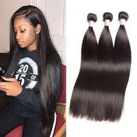 bakire kıllı 34 ipeksi düz toptan satış-Perulu Ipeksi Düz İnsan Saç Uzantıları 3 Paketler 8-28 inç Bakire Saç Atkı Düz 3 Adet / grup Doğal Siyah