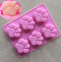 Wholesale wholesale ice resin - Cat Paw Print Bakeware Silicone Mould Bear Chocolate Paw Mold Cookie Candy Soap Resin Wax Mold DIY Cake Decorating Tools OOA5035