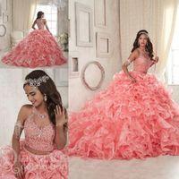 vestidos de laranja branco quinceanera venda por atacado-2018 Modest Ruffles Duas Peças Coral Quinceanera Vestidos Doce 16 Lace Organza Plus Size Masquerade Sheer Prom Ocasião Vestido