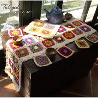 Wholesale Hand Crocheted Tablecloths - Wholesale- DIY Handmade Crochet Lace Doilies Coaster Tablecloth Hand Hook Scarf Cushion Pastoral Crochet Table Mat Party Teapot Decor Mats