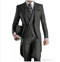 düğün için gri pantolon toptan satış-2018 wangyandress Tailcoat Erkekler Suits (Ceket + Pantolon + Yelek) Gri Bir Düğme Erkekler Için Üç Adet Düğün Takımları Özel Erkek Yelek Ücretsiz Kargo