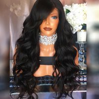 Wholesale Wavy Red Wigs - Natural Hairline Glueless High Temperature Fiber Hair Wigs Swiss Long Wavy 1# Black Synthetic Lace Front Wig for Women