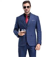 pantalones de moda occidental al por mayor-(Jacket + Vest + Pants) Trajes de hombres 2018 grid stripe Traje de lana de moda para hombres Hombres ocio Trajes de boda de un botón hombre trajes de estilo occidental